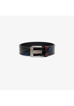 Balenciaga Black Logo print leather belt