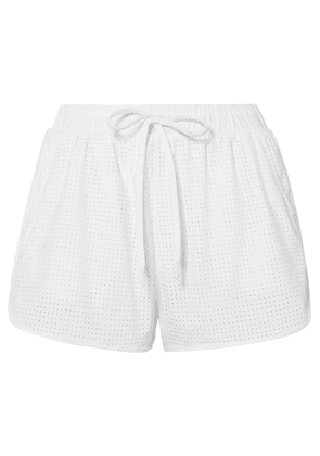 The Upside - Track Perforated Shell Shorts - White