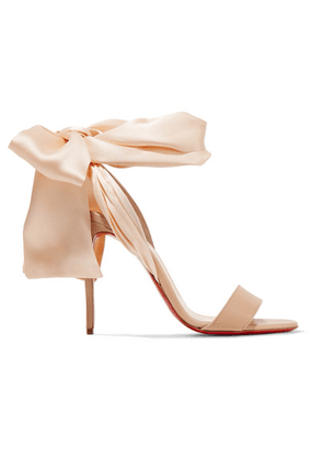 Christian Louboutin - Sandale Du Desert 100 Leather And Satin Sandals - Beige