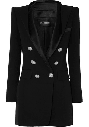 Balmain - Hooded Button-embellished Satin-trimmed Crepe Blazer - Black