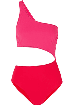 Stella McCartney - Cutout One-shoulder Two-tone Swimsuit - Red