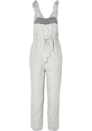 Innika Choo - Fava Rutfrend Embroidered Striped Linen Dungarees - Ivory
