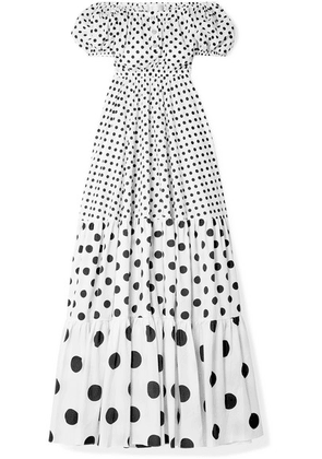 Caroline Constas - Bardot Off-the-shoulder Polka-dot Cotton-blend Maxi Dress - White