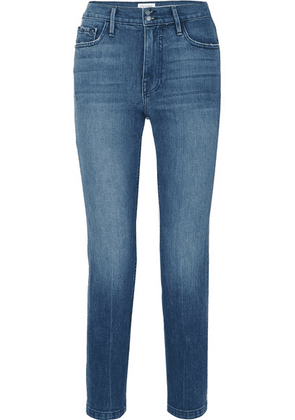 FRAME - Heritage Sylvie Cropped Distressed High-rise Slim-leg Jeans - Mid denim