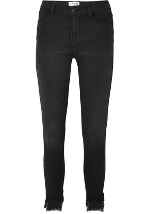 FRAME - Le High Cropped Frayed Mid-rise Skinny Jeans - Black