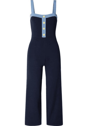 STAUD - Scotch Two-tone Ribbed-knit Jumpsuit - Navy