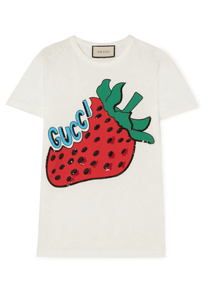 Gucci - Sequined Printed Cotton-jersey T-shirt - Ivory