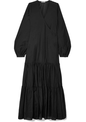 MATIN - Tiered Silk And Cotton-blend Voile Wrap Maxi Dress - Black