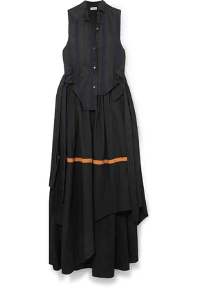 Loewe - Asymmetric Leather-trimmed Cotton And Linen-blend Maxi Dress - Black