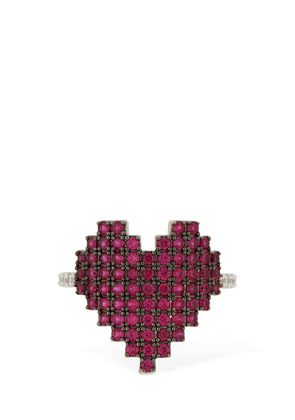 Silver Pixel Red Heart Ring