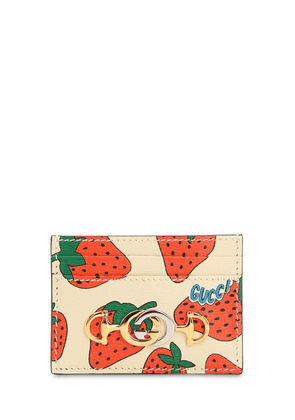 Strawberry Print Leather Card Holder