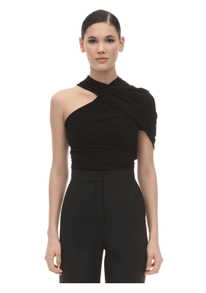 Draped Stretch Jersey One Shoulder Top