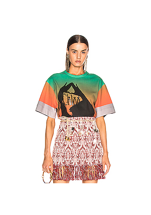 Chloe Logo Color Top in Green,Ombre & Tie Dye,Orange