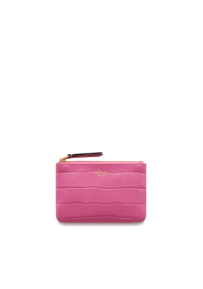 Mulberry Zip Coin Pouch in Raspberry Pink Croc Print