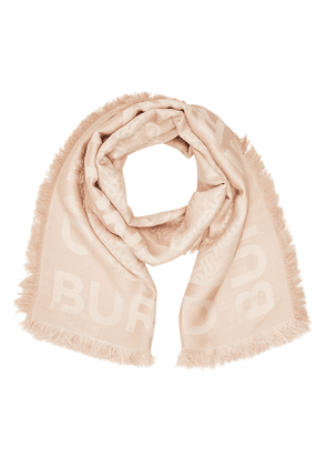 Burberry Printed Scarf in Mulberry Silk and Wool
