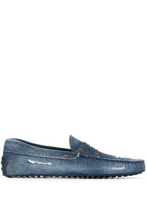 Tod's distressed denim Gommino driving shoes - Blue