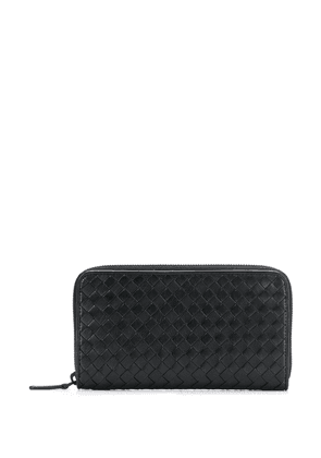 Bottega Veneta long woven zip wallet - Black