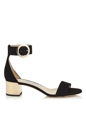 JAIMIE 40 Black Suede Sandal with Round Buckle Fastening