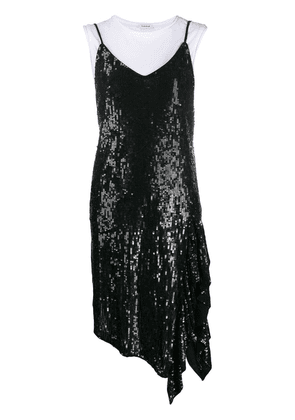 P.A.R.O.S.H. sequinned asymmetric slip dress - Black