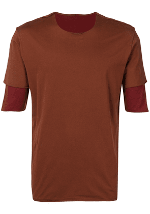 Attachment exposed seams layered T-shirt - Brown