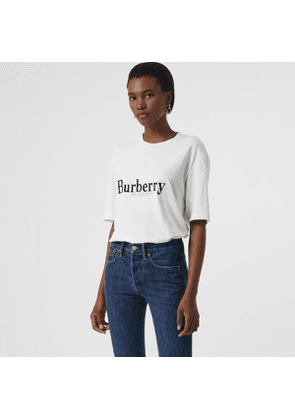 Burberry Embroidered Archive Logo Cotton T-shirt, Size: XL, White