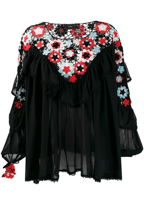 Alanui floral crochet panel blouse - Black