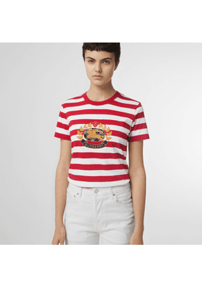 Burberry Crest Appliqué Striped Cotton T-shirt, Size: XL, Red