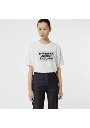 Burberry Logo Print Stretch Cotton Oversized T-shirt, Size: M, White