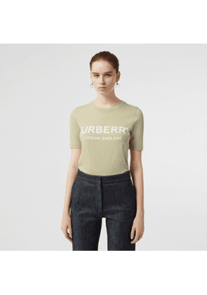 Burberry Logo Print Cotton T-shirt, Size: XS, Green