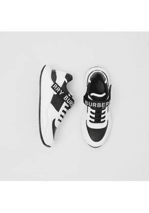 Burberry Logo Detail Leather and Nylon Sneakers, Size: 39.5, Black