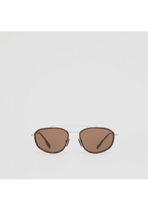Burberry Gold-plated Geometric Navigator Sunglasses, Brown