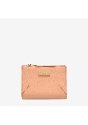 Bally Logan Suzy Pink, Women's grained bovine leather French wallet in melrose