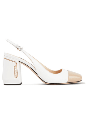 Prada - 85 Two-tone Smooth And Patent-leather Slingback Pumps - White