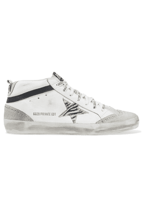 Golden Goose - Mid Star Distressed Leather, Suede And Zebra-print Pony Hair Sneakers - White
