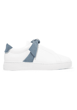 Alexandre Birman - Clarita Bow-embellished Suede-trimmed Leather Slip-on Sneakers - White
