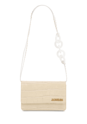 Le Sac Riviera Croc Embossed Leather Bag