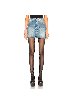 Saint Laurent Embossed Star Classic Skirt in Denim Light,Stars