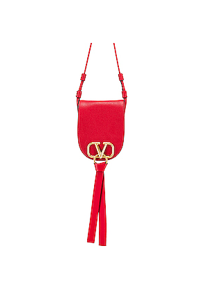 Valentino VRing Small Saddle Bag in Red