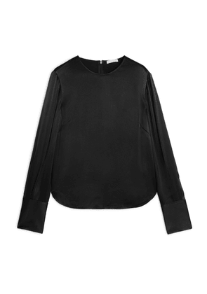 Long-Sleeved Satin Blouse - Black