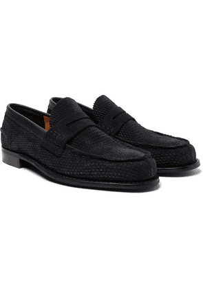 Cheaney - Dover D Perforated Suede Penny Loafers - Navy