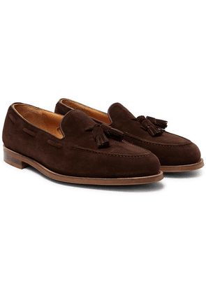 Edward Green - Hampstead Leather-trimmed Suede Tasselled Loafers - Dark brown