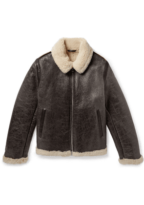 Acne Studios - Shearling-lined Textured-leather Jacket - Dark brown