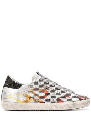 Golden Goose Superstar flame-print distressed sneakers - Silver