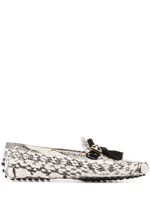 Tod's loafers with snakeskin-effect - White