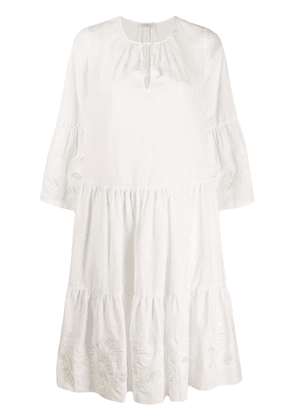 Closed flared mid-length dress - White