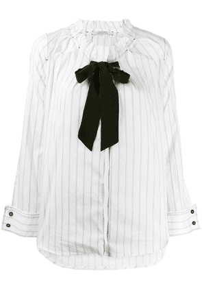 Dorothee Schumacher bow detail striped shirt - White