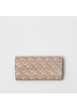 Burberry Monogram Print Leather Continental Wallet, Beige