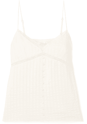 Anine Bing - Nadine Lace-trimmed Silk And Cotton-blend Camisole - Off-white