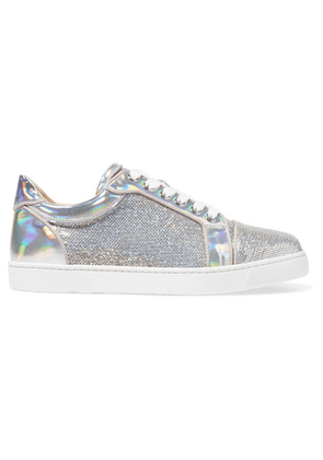 Christian Louboutin - Vierira Metallic Leather-trimmed Sequined Sneakers - Silver