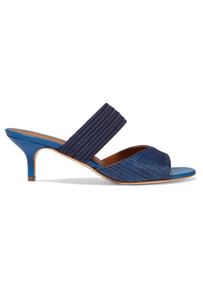 Malone Souliers - Rodena 45 Cord-trimmed Canvas And Leather Mules - Navy